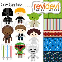 Star wars inspired cliparts. Luke Skywalker, Hans Solo, Princess Leah, Darth Vader, Yoda, and more! Digital graphic clip arts and background for your
