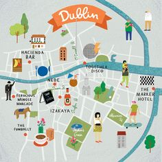 Illustrated map of Dublin, Ireland, travel art Europe