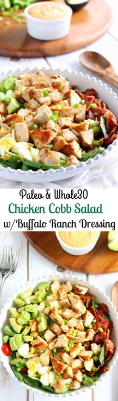Whole 30 and paleo chicken cobb salad with buffalo ranch dressing two ways! One is mayo based and the other coconut milk based - both incredible and so healthy!(Paleo Whole Chicken) Whole 30 Lunch, Whole 30 Diet, Paleo Whole 30, Whole 30 Meals, Whole 30 Drinks, Whole 30 Salads, Paleo Diet Meal Plan, Diet Meal Plans, Paleo Plan