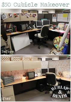 This is a cubicle makeover from Burlap and Denim. I love it! I don't know about you all but I spend a lot of time at work so making it nice like this is awesome!