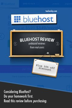 Unbiased #BlueHost Web Hosting Reviews From Real Users + 50% OFF Discount Code: http://www.twelveskip.com/reviews/web-hosting/1360/bluehost-web-hosting-review  #BlueHostReview #WebHosting #BlueHostDiscount