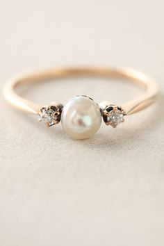 Pearl & Diamond Ring - anthropologie.com
