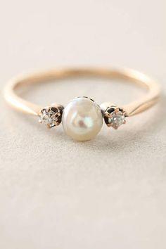 Pearl & Diamond Ring - anthropologie.com