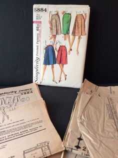 Simplicity Sewing Pattern Vtg 60s Set Of Skirts 24 Waist 33 Hips Pleated Fitted #Simplicity