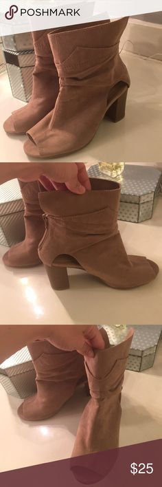 Tan wedges/booties Adorable and fun light tan wedges! These are brand new and have never been worn! They have been sitting in my closet for a few months so they have a few small marks that could be washed off.  But nothing permanent or even noticeable! These would be perfect for upcoming festivals! Coachella or stagecoach! Qupid Shoes Ankle Boots & Booties