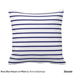 Navy Blue Stripes on White Throw Pillows