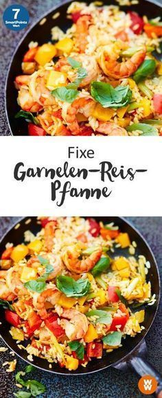 Fixe Garnelen-Reis-Pfanne, 7 SmartPoints/Portion, Weight Watchers, fertig in 25 min.