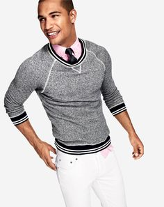 Athletic sweatshirts can always tone down an outfit!!! Yes and this one works so well! Would have loved to see a pop of color with the tie.