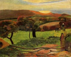 Breton Landscape - Fields by the Sea (Le Pouldu), 1889, Paul Gauguin Medium: oil on canvas