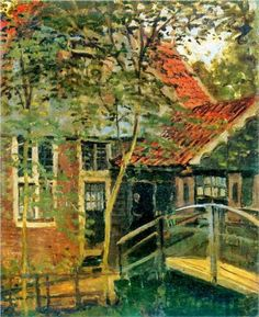 Zaandam, Little Bridge - Claude Monet. I have a little bridge in my backyard--but not over a creek. I wish...