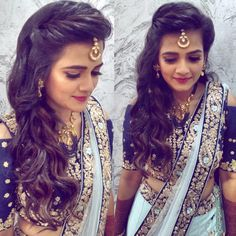 Hairstyles For Engagement Open Curled Hair With Maang Tikka