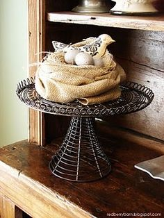 Love this burlap nest for spring! Will be perfect on the mantle.