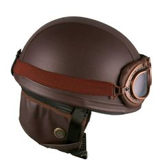 Leather Brown Motorcycle Goggles Vintage Garman Style Half Helmets Motorcycle Biker Cruiser Scooter Touring Helmet:Amazon:Automotive