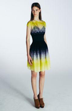 Ombre colors short dress I Jonathan Saunders Resort 2014 #fashion
