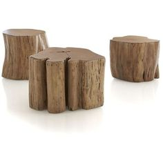 Natural Tree Stump Side Table Eclectic Side Tables And