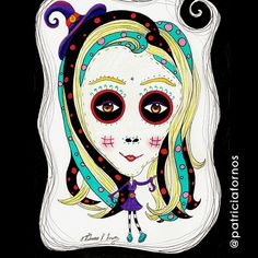 Girl that loves Tim Burton. Mexican Skull by Patricia Fornos