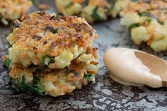 Crispy, cheese Cauliflower-Carrot Fritters, served with Smoky Garlic Aioli. These make a fabulous vegetarian main dish, but they're great as a side too!