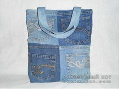 Sac en jean - 4 poches - 37x44 cm