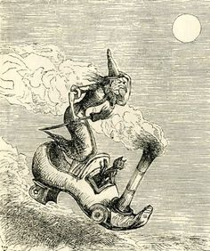 We've heard the nursery rhyme about the old woman who lived in a shoe, but here's an old witch who commutes in one. From Punch, Halloween Cat, Holidays Halloween, Halloween Prints, Happy Halloween, Vintage Halloween Images, Season Of The Witch, Vintage Witch, Witch Art, Wiccan