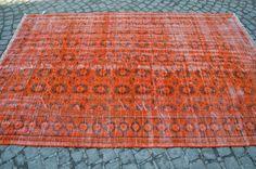 Orange Overdyed Rug, Turkish Handmade Oushak Carpet, Vintage Overdye Rug, Size is (266 cm x 166 cm)  8,7 feet x 5,4 feet model: 546 by OushakRugs on Etsy