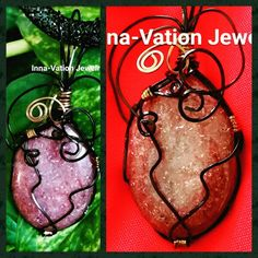 #Wire #wrapped #sandstone #slider #pendant, #copper #wire, #optional #black mesh #choker cord. available on  M.inselly.com/inna_vation_jewelry