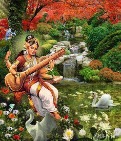 Om Namah Shivay — dzaira: Saraswathi Devi by ajishrocks Durga, Saraswati Goddess, Lord Saraswati, Lord Shiva, Saraswathi Devi, Indian Classical Dance, Divine Mother, Cleveland Museum Of Art, Sacred Feminine