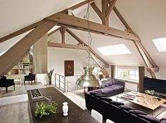 love the beams in this barn conversion