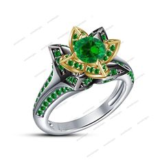 14k White Gold Fn 925 Silver Green Sapphire Women's Wedding Flower Shape Ring  #aonedesigns #SolitairewithAccents