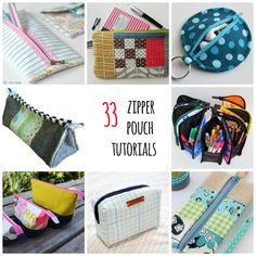 33 free zipper pouch tutorials