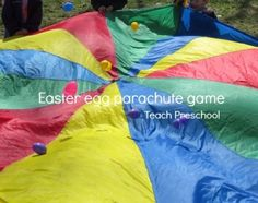Easter egg parachute game left right passing easter game fun easter games for kids perfect easter party ideas and family gift Easter Party Games, Easter Games For Kids, Easter Ideas, Easter Outdoor Games, Easter Egg Crafts, Easter Eggs, Easter Table, Easter Decor, Preschool Games