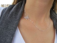 Silver Necklace  Butterfly Necklace Sideway by HLcollection, $25.00