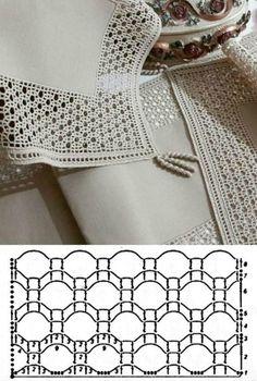 Delight Yourself: The Beautiful Crochet Crochet - Diy Crafts - Marecipe Crochet Diy, Beau Crochet, Crochet Patron, Crochet Lace Edging, Crochet Motifs, Crochet Borders, Crochet Diagram, Crochet Chart, Filet Crochet