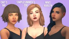 """stargirl-sims: """" 600+ Follower gift: Hair Recolor Dump AHH my first hair recolors! I worked so hard on these and even though the previews are trash, i'm still proud of myself. And thank you so much..."""