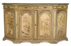 An Italian Baroque chinoiserie  decorated credenza incorporating 18th century and later elements
