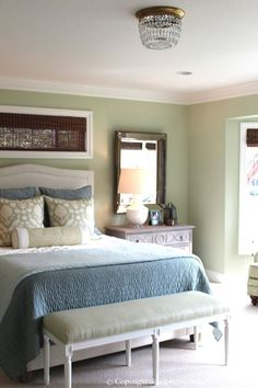 Soft Green And Aqua Blue Master Bedroom Before After Clic Casual Home