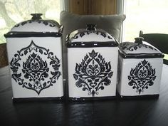 222 Fifth 3 PC Canister Set Black White | eBay