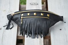 Handmade black leather fringe waist bag / bum bag by TanDemCustoms