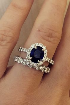 18 Magnificent Sapphire Engagement Rings ❤️ sapphire engagement rings oval cut pave band diamond wedding set halo ❤️ More on the blog: https://ohsoperfectproposal.com/sapphire-engagement-rings/