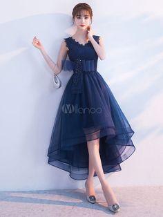 Tulle Homecoming Dress V Neck Lace Applique Sleeveless Bows Sash A Line Asymmetrical Dark Navy Prom Dresses Navy Prom Dresses, High Low Prom Dresses, Tulle Prom Dress, Ball Dresses, Evening Dresses, Short Dresses, Navy Dress, Simple Dresses, Elegant Dresses