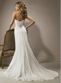 Corset Back and Sexy Slit $205   wedding dress      Repinned by Moments Photography http://www.MomentPho.com