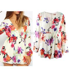 Factroty Price 2014 Summer Floral Print  Long Sleeve Playsuit  Jumpsuit Ladies Vestidos V-neck Chiffon Romper  Free Dropshipping