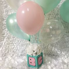 Baby & Co Baby Block Centerpieces With Balloons And Flowers