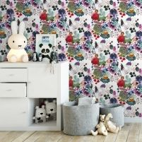 Colourful, quirky characters dance across this Scandinavian wallpaper by Finnish visual artist Outi Virtanen. Scandinavian Wallpaper, Kids Wallpaper, Elle Decor, Designer Wallpaper, Abstract, Wall Murals, Bedroom Decor, Kids Rugs, Wallpapers