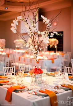 Tall Wedding Reception Centerpieces | Weddings Romantique I'm not a big fan of the centerpiece, but I like the idea of having square tables at the reception.