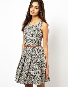Image 1 of Glamorous Belted Skater Dress In Gingham Floral