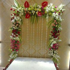flowers and plants Diwali Decorations At Home, Home Wedding Decorations, Backdrop Decorations, Festival Decorations, Flower Decorations, Garland Wedding, Flower Decoration For Ganpati, Ganpati Decoration Design, Gauri Decoration
