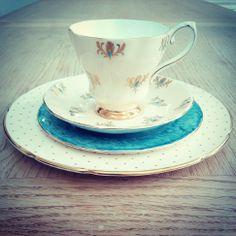 Vintage Royal Grafton Peach & Turquoise Fleur-de-lis Teacup & Saucer.
