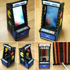 Arcade machine phone holder perler beads by limfactory More - Diy and crafts interests Hamma Beads 3d, Fuse Beads, Pearler Beads, Hama Beads Design, Hama Beads Patterns, Loom Patterns, Diy Perler Beads, Perler Bead Art, Pixel Art