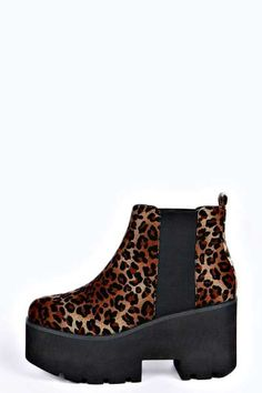 Zina Leopard Print Cleated Boot at boohoo.com                 I actually NEED these
