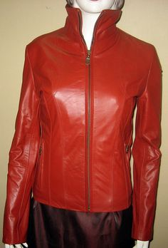 Red leather jacket casual wear classic style 612  $229.99 image
